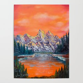 Mountains landscape at sunset Poster