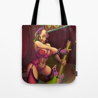 cyberpunk Tote Bags featuring CyberPunk-Rock by RevvyIllustrations