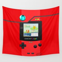 gameboy Wall Tapestries featuring Gameboy Color Pokedex by Veylow