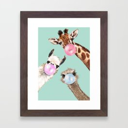 Bubble Gum Gang in Green Framed Art Print
