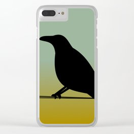 Crow on a (Barbed) Wire Clear iPhone Case