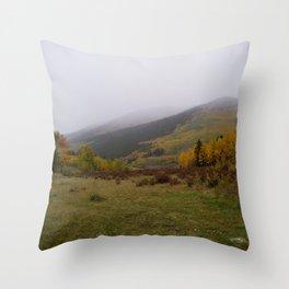 Rolling Fog on A Golden Peak Throw Pillow