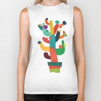 cactus Biker Tanks featuring Whimsical Cactus by Picomodi