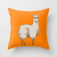 llama Throw Pillows featuring Llama by Nemki