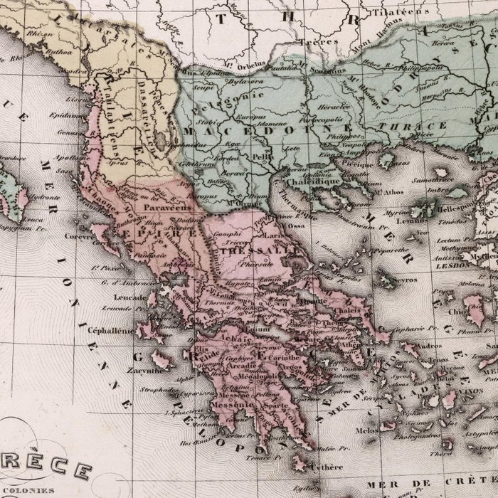 Vintage Map of Greece and Italy (1852) Comforters