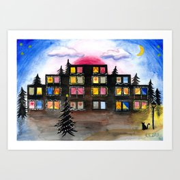 Christmas Building Painting Art Print