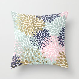 Floral Prints, Navy Blue, Aqua, Pink, Gold, Colourful Prints Throw Pillow