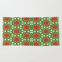 Red, Green and White Kaleidoscope 3373 Beach Towel