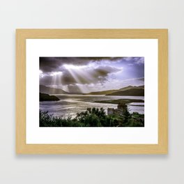 Sun Rays over Eilean Donan Castle Framed Art Print