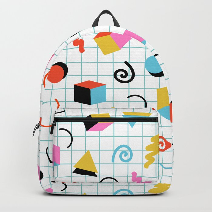 Clutch - memphis 80s style retro throwback cubes geometric triangles 1980's pattern Backpack