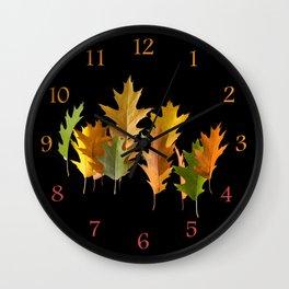 Variety coloured autumn oak leaves Wall Clock