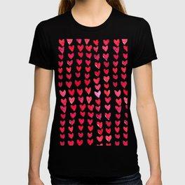Brush stroke hearts - red T-shirt