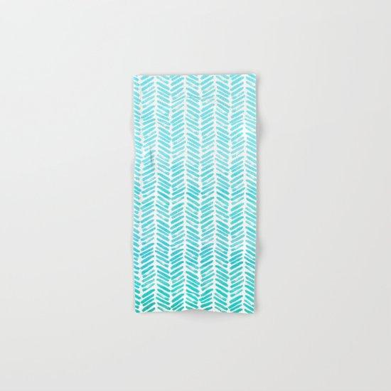 Handpainted Chevron pattern-small-light green and aqua Hand & Bath Towel