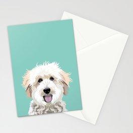 Golden Doodle pet portrait art print and dog gifts Stationery Cards