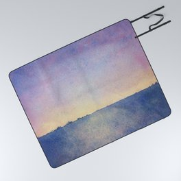 Watercolour Sunset Textural Abstract Painting Picnic Blanket