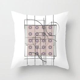 White Blush Pattern Flower Design Throw Pillow