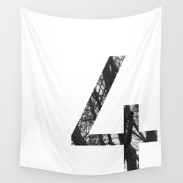 Minimal Number Four Print With Photography Background Wall Tapestry