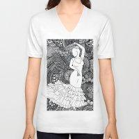 spanish V-neck T-shirts featuring spanish dancer by ZINAVARTA