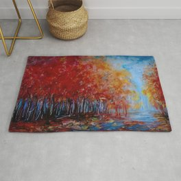 Red Fall Forest Panorama Rug