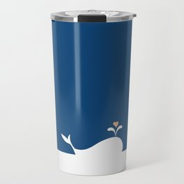 Whale in Blue Ocean with a Love Heart Travel Mug