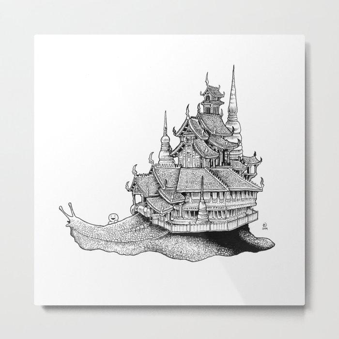 Snail Temple Metal Print