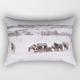 horses in the snow Rectangular Pillow