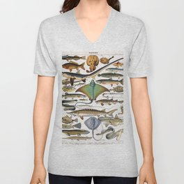 Adolphe Millot - Poissons A - French vintage nautical poster Unisex V-Neck