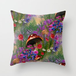 Fantasy Mushroom Forest Throw Pillow