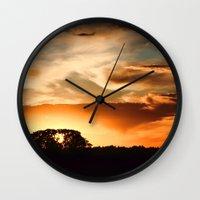 swedish Wall Clocks featuring Swedish sunset by Mark W
