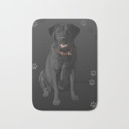Black Labrador Retriever Paw Prints Bath Mat