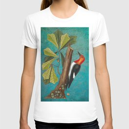 Red Headed Woodpecker with Oak, Natural History and Botanical collage T-shirt
