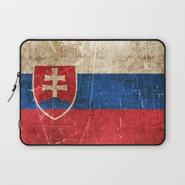 Vintage Aged and Scratched Slovakian Flag Laptop Sleeve