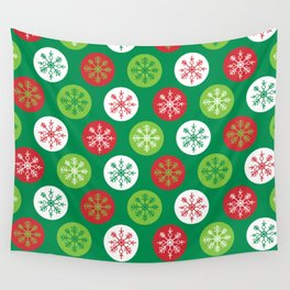 Kitschy Christmas Snowflakes Wall Tapestry