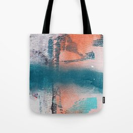 Poetry [1]: a vibrant abstract mixed-media painting in teal and pink by Alyssa Hamilton Art Tote Bag