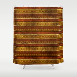African Ethnic Tribal Pattern in golds and brown Shower Curtain