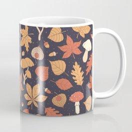 Autumn Pattern on Dark Blue Coffee Mug