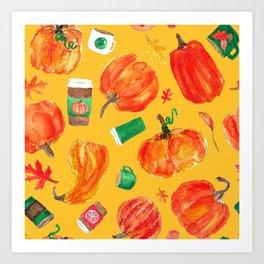 Watercolor Pumpkin Patch in Butternut Squash Gold Art Print