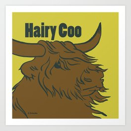 Scottish Hairy Coo (Green) Art Print