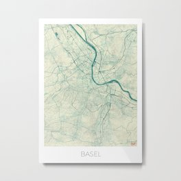 Basel Map Blue Vintage Metal Print