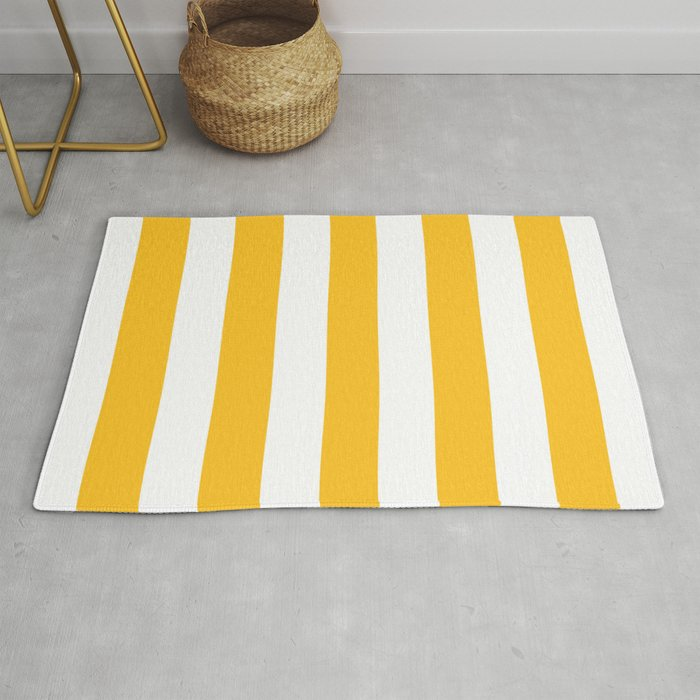 Ripe mango yellow - solid color - white vertical lines pattern Rug