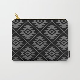 Aztec Symbol Pattern Gray on Black Carry-All Pouch