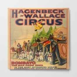 Illustrated Circus Poster Metal Print
