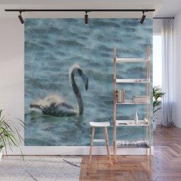 Fledgling Flamingo At Sea Watercolor Wall Mural