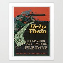 Vintage War Bonds Poster Art Print