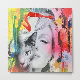 Marilyn and Cat Metal Print