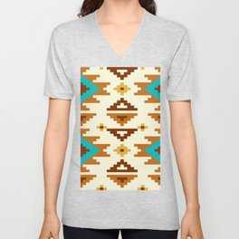 Native Aztec Light Brown Pattern Unisex V-Neck