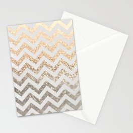 GOLD & SILVER CHEVRON Stationery Cards