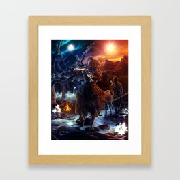 XIV. Temperance Tarot Card Illustration (Color) Framed Art Print