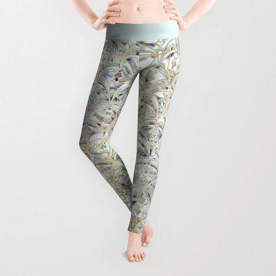 Pale Bright Mint and Sage Art Deco Marbling Leggings
