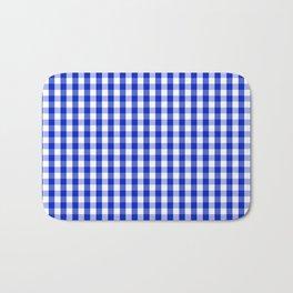 Cobalt Blue and White Gingham Check Plaid Squared Pattern Bath Mat